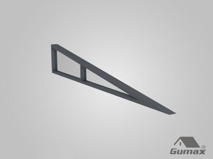 Glas - Abschlusskeil in matt anthrazit für 3,5m Dachtiefe