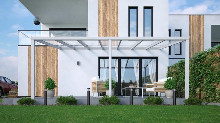 Terrassenüberdachung in weiß seidenmatt, 6,00m x 4,00m mit Glaseindeckung klar